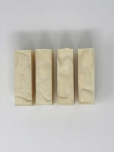 View of 4 bars of Aloe Vera soap from top
