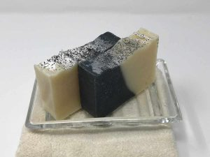 Charcoal Bar Soap on Glass Dish