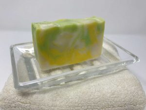 Green, Blue, White Unscented Bar Soap on Glass Dish