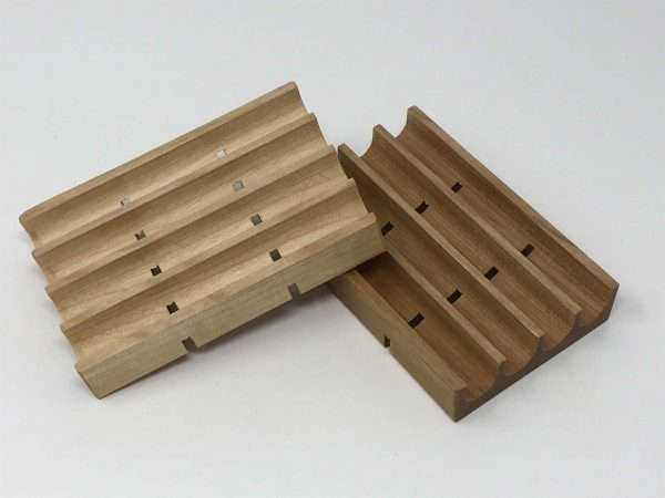 Wood soap dish with drains